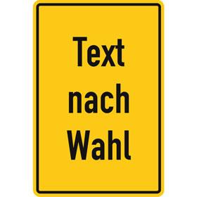 Aluminiumschild, erhaben geprägt, mit Text nach Wahl Grundfarbe gelb, Schrift schwarz, Ecken rund,
