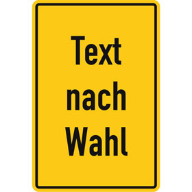 Aluminiumschild, mit Text nach Wahl Grundfarbe gelb, Schrift schwarz, Ecken rund,