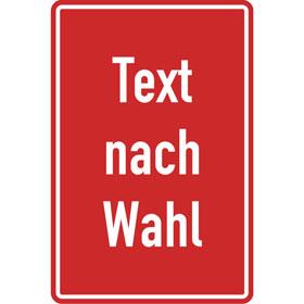 Aluminiumschild, mit Text nach Wahl Grundfarbe rot, Schrift weiß, Ecken rund,