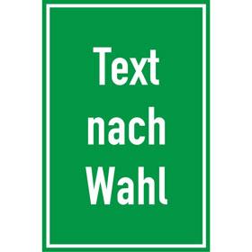 Kunststoffschild, mit Text nach Wahl Grundfarbe grün, Schrift weiß,