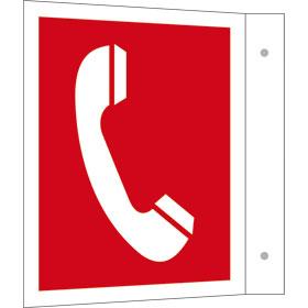 Brandschutzschild - Fahne - langnachleuchtend Brandmeldetelefon