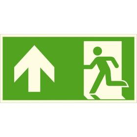 Fluchtwegschild - langnachleuchtend Notausgang links, aufwärts bzw. geradeaus (Kombischild)