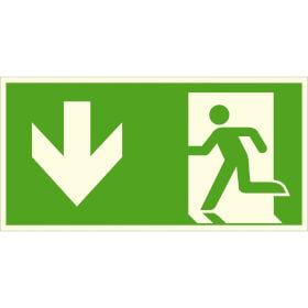Fluchtwegschild - langnachleuchtend Notausgang links, abwärts (Kombischild)