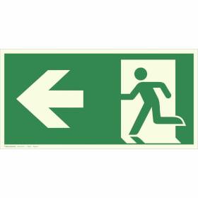 Fluchtwegschild - langnachleuchtend Notausgang links, (Kombischild)
