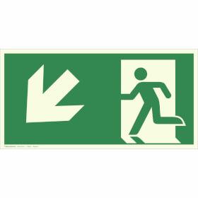 Fluchtwegschild - langnachleuchtend Notausgang links, schräg abwärts (Kombischild)