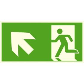 Fluchtwegschild - langnachleuchtend Notausgang links, schräg aufwärts (Kombischild)