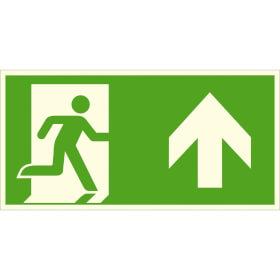 Fluchtwegschild - langnachleuchtend Notausgang rechts, aufwärts bzw.geradeaus (Kombischild)