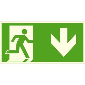 Fluchtwegschild - langnachleuchtend Notausgang rechts, abwärts (Kombischild)