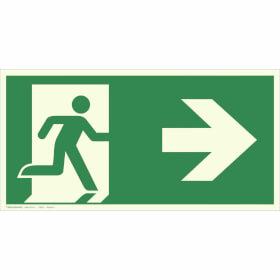 Fluchtwegschild - langnachleuchtend Notausgang rechts, (Kombischild)