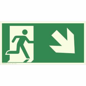 Fluchtwegschild - langnachleuchtend Notausgang rechts, schräg abwärts (Kombischild)