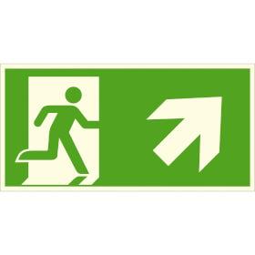 Fluchtwegschild - langnachleuchtend Notausgang rechts, schräg aufwärts (Kombischild)