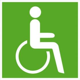 Rettungszeichen / nachleuchtend Rettungsweg - Notausgang für Rollstuhlfahrer rechts