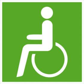 Fluchtwegschild - langnachleuchtend Rettungsweg - Notausgang für Rollstuhlfahrer links