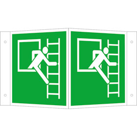 Fluchtwegschild - Winkel - langnachleuchtend Notausstieg mit Fluchtleiter rechts