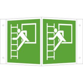 Fluchtwegschild - Winkel - langnachleuchtend Notausstieg mit Fluchtleiter links