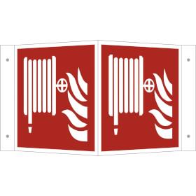 Brandschutzschild - Winkel - langnachleuchtend Löschschlauch
