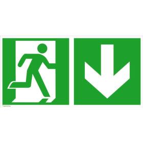 Fluchtwegschild - langnachleuchtend Notausgang rechts mit Zusatzzeichen: Richtungsangabe abwärts