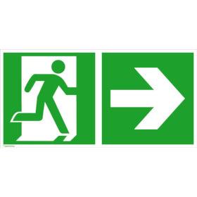 Fluchtwegschild - langnachleuchtend Notausgang rechts mit Zusatzzeichen: