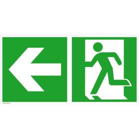 Fluchtwegschild - langnachleuchtend Notausgang links mit Zusatzzeichen: Richtungsangabe links