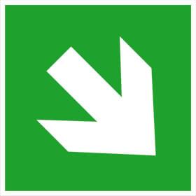 Fluchtweg/Erste Hilfe- Zusatzschild - langnachleuchtend Richtungsangabe schräg
