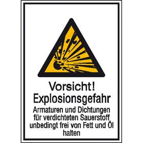 Warn-Kombischild Vorsicht! Explosionsgefahr Armaturen und