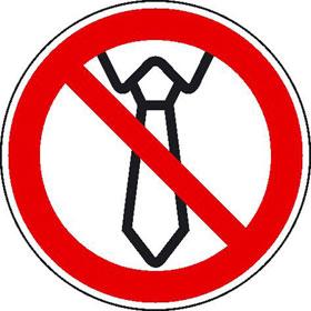 Verbotsschild auf Bogen Bedienung mit Krawatte verboten