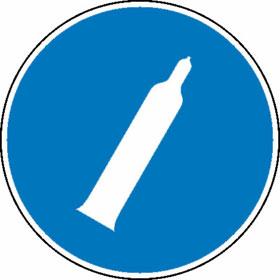 Gebotsschild Druckgasflasche