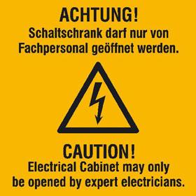 Warn-Kombischild Achtung! Schaltschrank darf nur von Fachpersonal geöffnet werden,