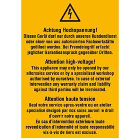 Warn-Kombischild Achtung Hochspannung! Dieses Gerät darf nur durch unseren Kundendienst...