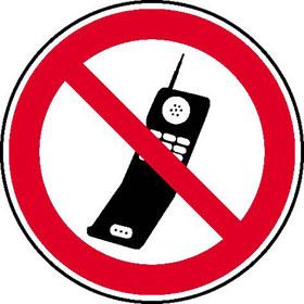 Verbotsschild Handy benutzen verboten
