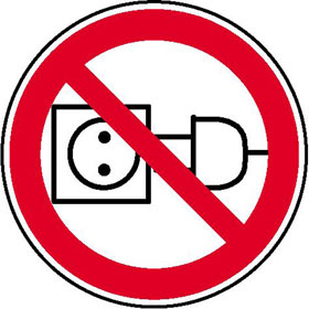 Verbotsschild auf Bogen Am Kabel ziehen verboten