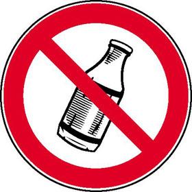 Verbotsschild Flaschen hinauswerfen verboten