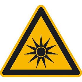 Warnschild auf Bogen Warnung vor optischer Strahlung