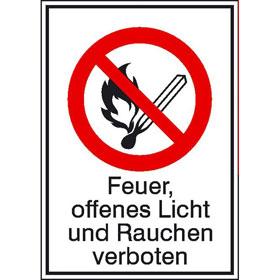 Verbots-Kombischild Feuer, offenes Licht und Rauchen verboten