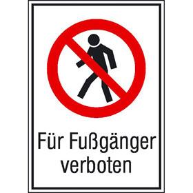 Verbots-Kombischild Für Fußgänger verboten