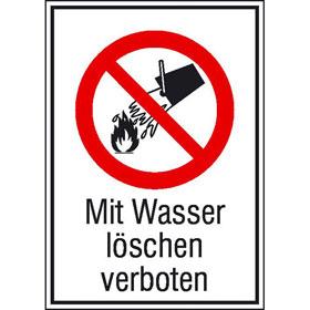 Verbots-Kombischild Mit Wasser löschen verboten