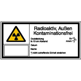Warn-Kombischild - Strahlenschutz Radioaktiv, Außen Kontaminationsfrei