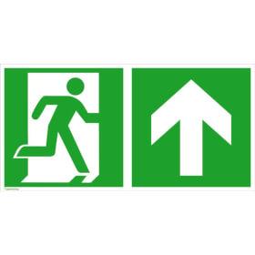 Fluchtwegschild - langnachleuchtend Notausgang rechts mit Zusatzzeichen: Richtungsangabe aufwärts bzw. geradeaus