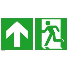 Fluchtwegschild - langnachleuchtend Notausgang links mit Zusatzzeichen: Richtungsangabe aufwärts bzw. geradeaus