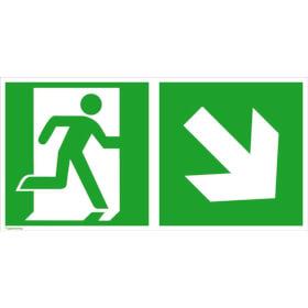 Fluchtwegschild - langnachleuchtend Notausgang rechts mit Zusatzzeichen: Richtungsangabe rechts abwärts