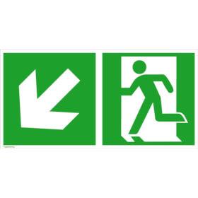 Fluchtwegschild - langnachleuchtend Notausgang links mit Zusatzzeichen: Richtungsangabe links abwärts