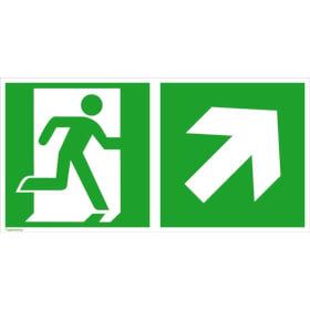 Fluchtwegschild - langnachleuchtend Notausgang rechts mit Zusatzzeichen: Richtungsangabe rechts aufwärts