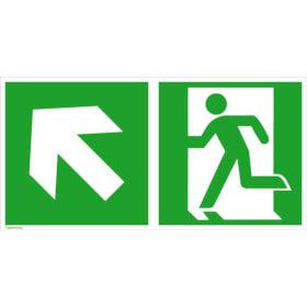 Fluchtwegschild - langnachleuchtend Notausgang links mit Zusatzzeichen: Richtungsangabe links aufwärts