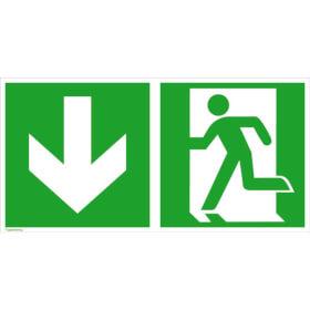 Fluchtwegschild - langnachleuchtend Notausgang links mit Zusatzzeichen: Richtungsangabe abwärts