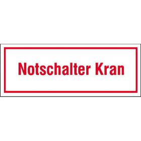 Hinweisschild zur Baustellenkennzeichnung Notschalter Kran