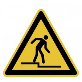 Warnschild Warnung vor Abwärtsstufe