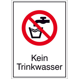 Verbots-Kombischild Kein Trinkwasser