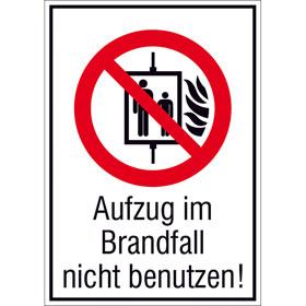 Verbots-Kombischild - langnachleuchtend Aufzug im Brandfall nicht benutzen