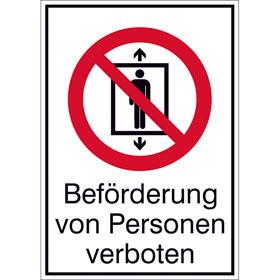 Verbots-Kombischild Beförderung von Personen verboten