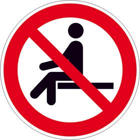 Verbotsschild Sitzen verboten